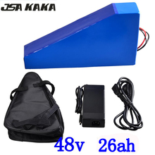 48V 2000W triangle battery 25AH electric bicycle 26AH lithium with 54.6V charger and free bag duty