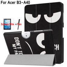 Magnetic Case for Acer Iconia B3-A40 10.1″ Tablet Stand Flip PU Leather Cover Funda Case for B3 A40+Free Screen Protector+Pen