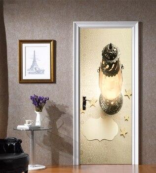 77*200cm diseño delicado atmósfera europea Dios mítico lámpara pintura al óleo pared pegatina Puerta de papel pintado pegatinas decoración del hogar