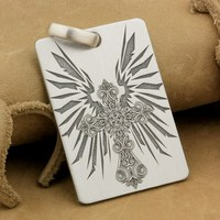 Customizable 925 Sterling Silver Deep Engraved High Detail Cross Wing Dog Tag Biker Rocker Punk Pendant 9X011 JP
