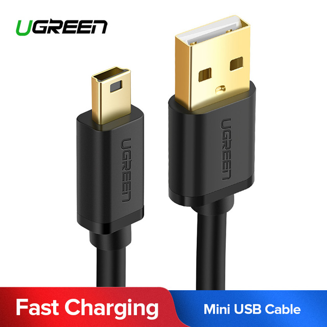 Ugreen מיני USB כבל מיני USB ל-usb מהיר נתונים מטען כבל עבור MP3 MP4 נגן רכב DVR GPS דיגיטלי מצלמה HDD מיני USB