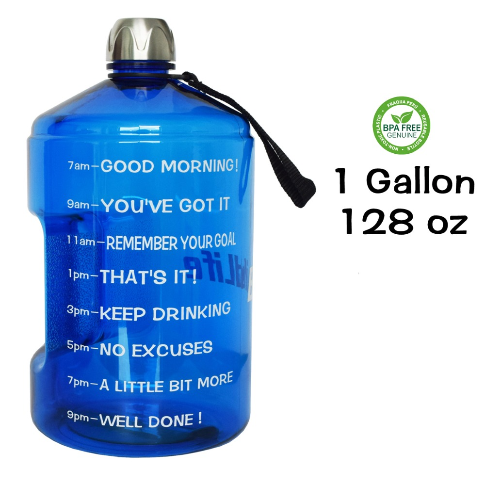 Quifit Free Shipping Plastic Large Capacity Bpa Training Drinking Water Bottle 1 Gallon