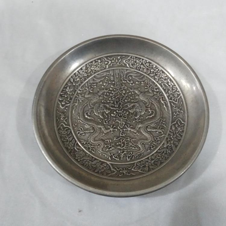 Vaisselle en forme de dragon du Tibet | Activités de calligraphie chinoise, is eau encre plat sculpté dragon Tibet argent vaisselle de lavage