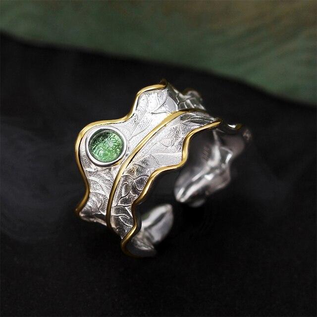 925 Sterling Silver Natural Tourmaline Adjustable Leaf Ring 1