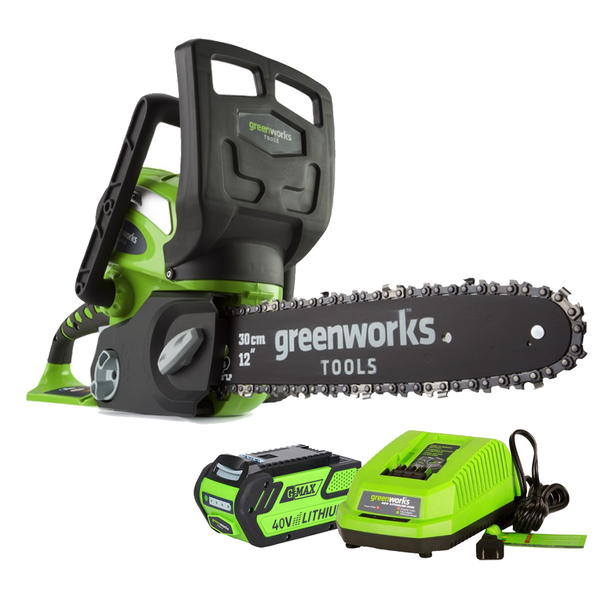 Saw chain rechargeable GreenWorks G40CS30 40V (blade length 300mm, 60 minutes of battery life, automatic lubrication аккумуляторная пила greenworks 40v g40cs30 20117