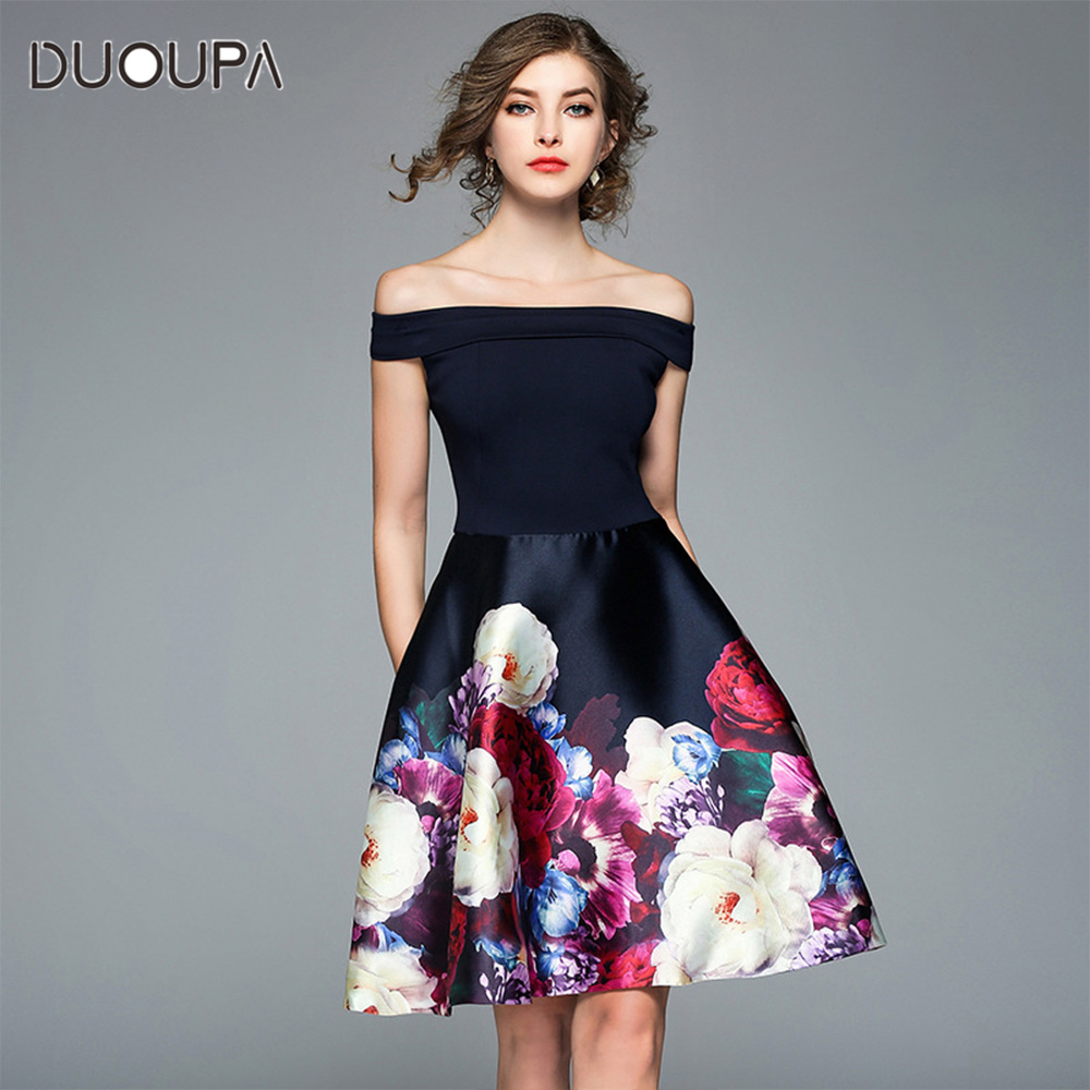 Spring dress 2019 new spring off  shoulder print sweet ball gown