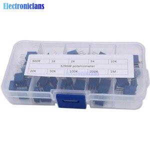 50 pçs/lote 3296 w multiturn kit potenciômetro aparador de alta precisão 3296 resistor variável 500r 1 k 2 5 k 10 20 k 50 k 100 k 200 k 1 m