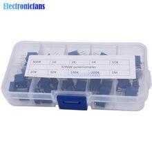50 Pz/lotto 3296W Multigiro Trimmer Del Potenziometro Kit di Alta Precisione 3296 Resistore Variabile 500R 1K 2K 5K 10K 20K 50K 100K 200K 1M