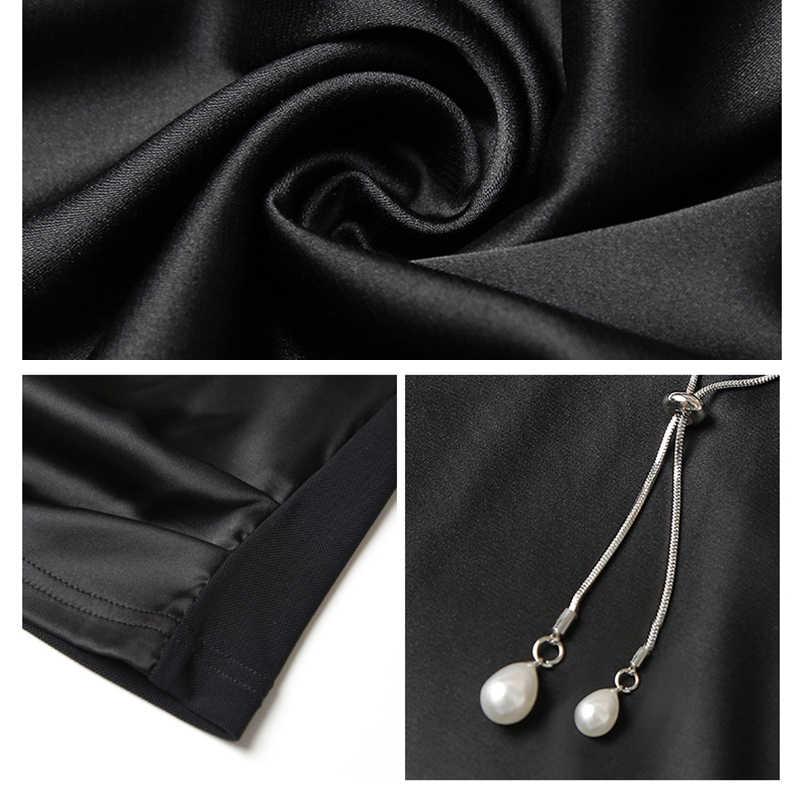 Осень 2018 г. для женщин Марли офисные женские туфли рубашки для мальчиков элегантный сатиновый, пэчворк блузка V образным вырезом с длинным рукавом черны
