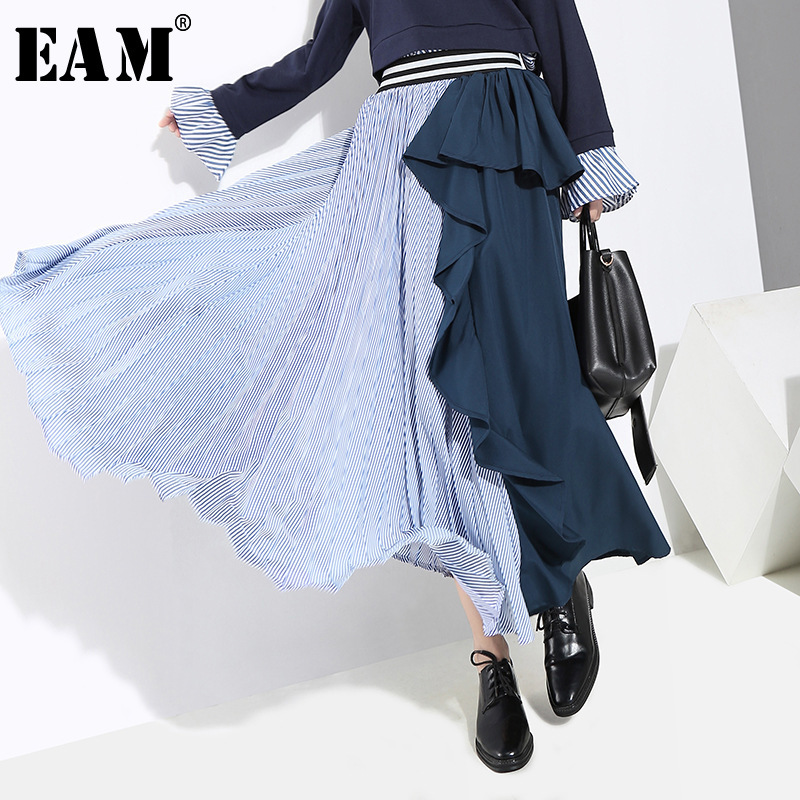 [EAM] 2020 New Spring High Elastic Waist Black Striped Ruffles Stitch Loose Irreglar Half-body Skirt Women Fashion JI236