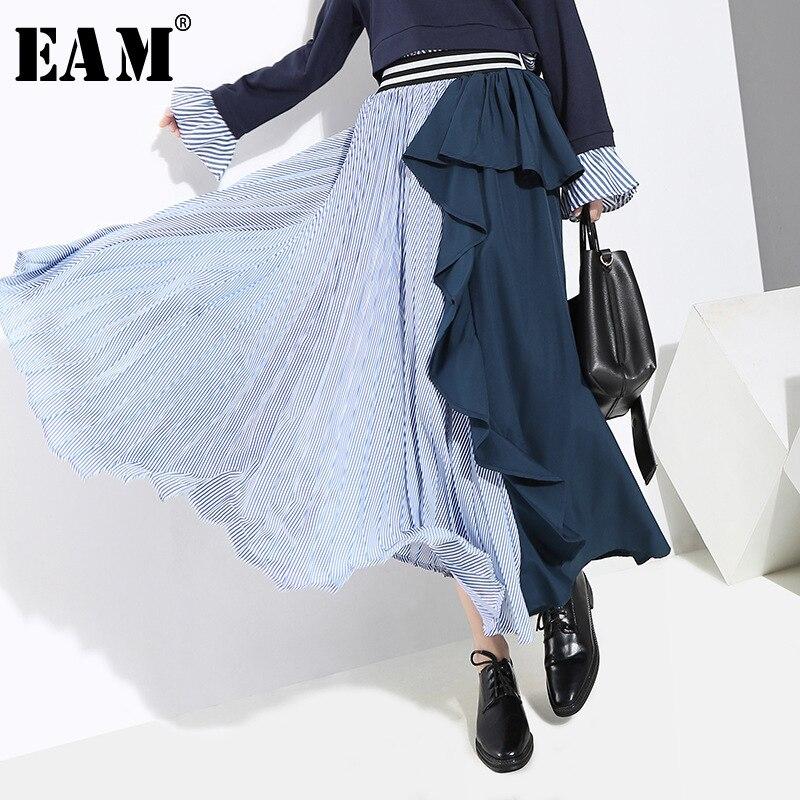 [EAM] 2020 New Spring High Elastic Waist Black Striped Ruffles Stitch Loose Irreglar Half-body Skirt Women Fashion JI236