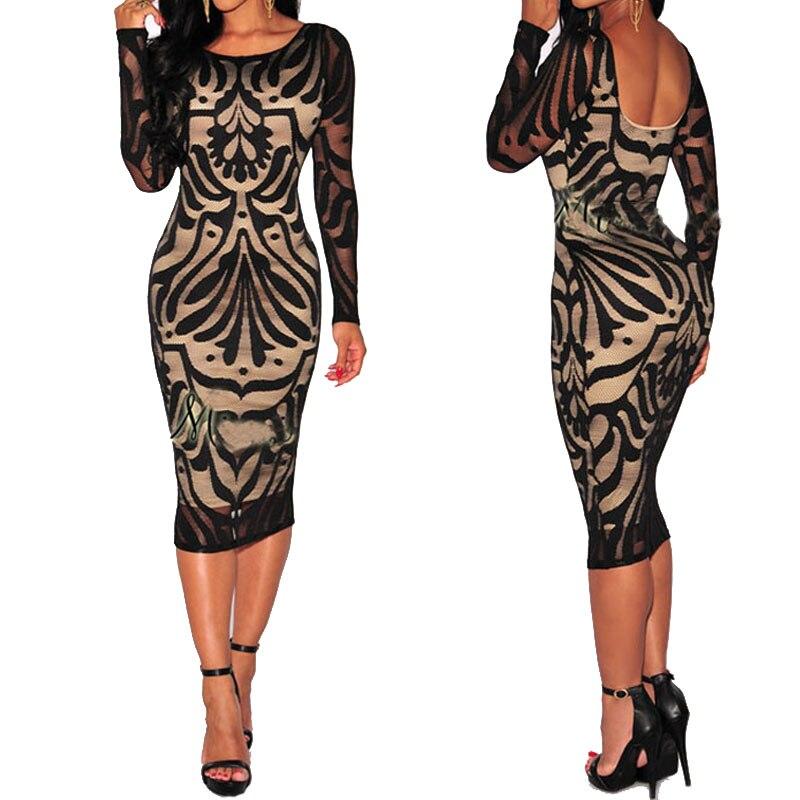 U-SWEAR Sexy Womens Black Floral Nightclub Long Sleeve Slim Fit Lace Crewneck Dress Knee Length Dresses Vestidos De Fiesta
