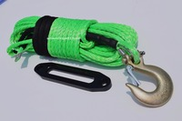 Green 12mm*30m Synthetic Winch Cable with 10 Hawse Fairlead, Spectra Winch Rope,Synthetic ATV Winch Rope