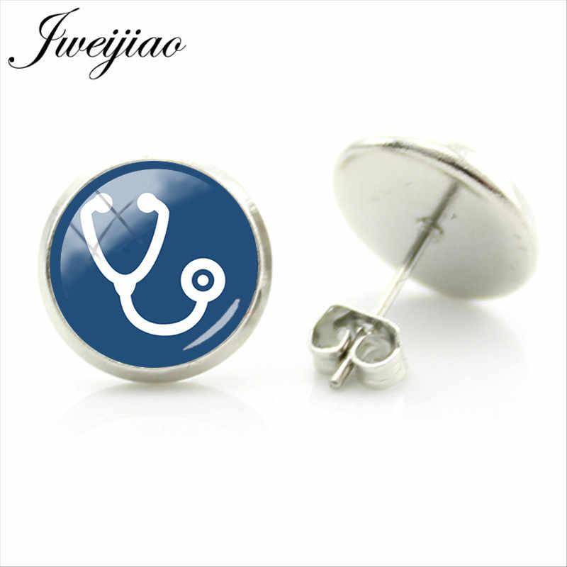 JWEIJIAO ナース医師医療聴診器耳スタッドピアスハートビジューファッション女性女の子ギフト SE73