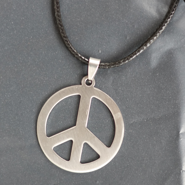 12pcslot hippie stainless steel jewelry silver peace sign pendant 12pcslot hippie stainless steel jewelry silver peace sign pendant necklace for men with black aloadofball Images