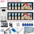 Intercom Video Intercoms 9 inch Home Video Deurtelefoon Voor 10 Appartementen + Rfid Unlock Elektronische Lock Systeem Unit Deur video Call