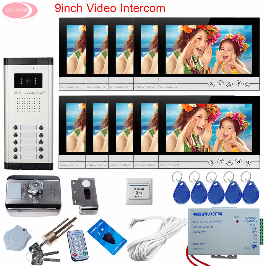 Intercom Video Intercoms 9inch Home Video Door Phone For 10 Apartments + Rfid Unlock Electronic Lock System Unit Door Video Call