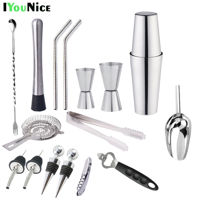 IYouNice 17 pezzi 750 ml/600 ml/450 ml In Acciaio Inox Shaker Bar, Utensili e Accessori Set Bar Boston Shaker set Bartender Kit ShakerIYouNice 17 pezzi 750 ml/600 ml/450 ml In Acciaio Inox Shaker Bar, Utensili e Accessori Set Bar Boston Shaker set Bartender Kit Shaker