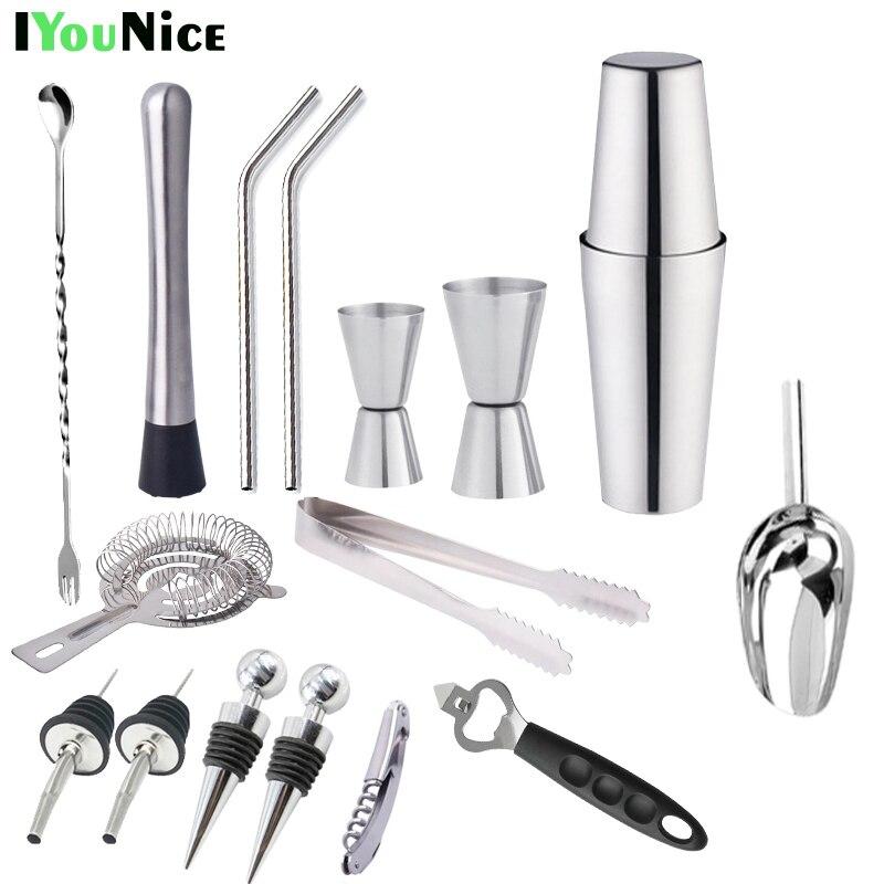 IYouNice 17 pieces 750ml/600ml/450ml Stainless Steel Shaker Barware Set Bar Boston Cocktail Shaker Set Bartender Kit Shaker