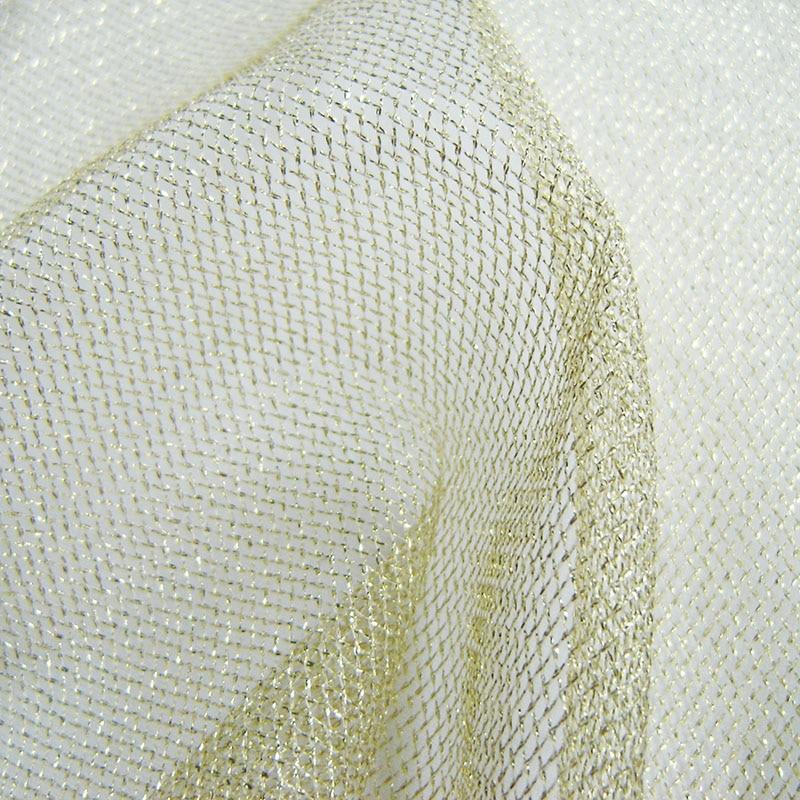 1 yard Gold Mesh příze Tyl Fabric Svatební Party Decor Restaurace Kavárny Hotel Campus Vánoční dekorace Stříbrná gázová tkanina
