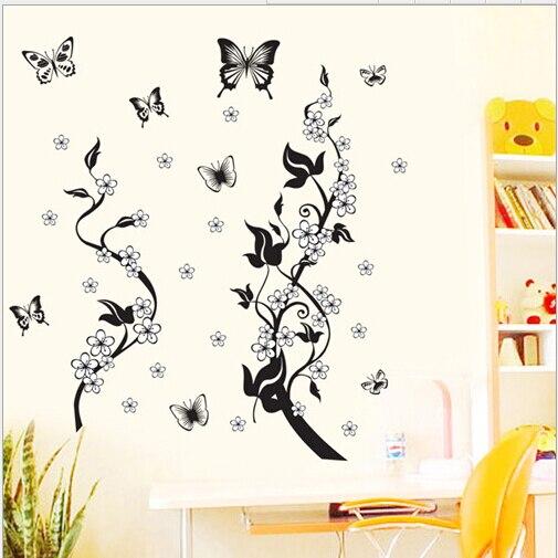 autocollant freska crni leptir vino cvijet naljepnica za zid kupatilo - Kućni dekor - Foto 5