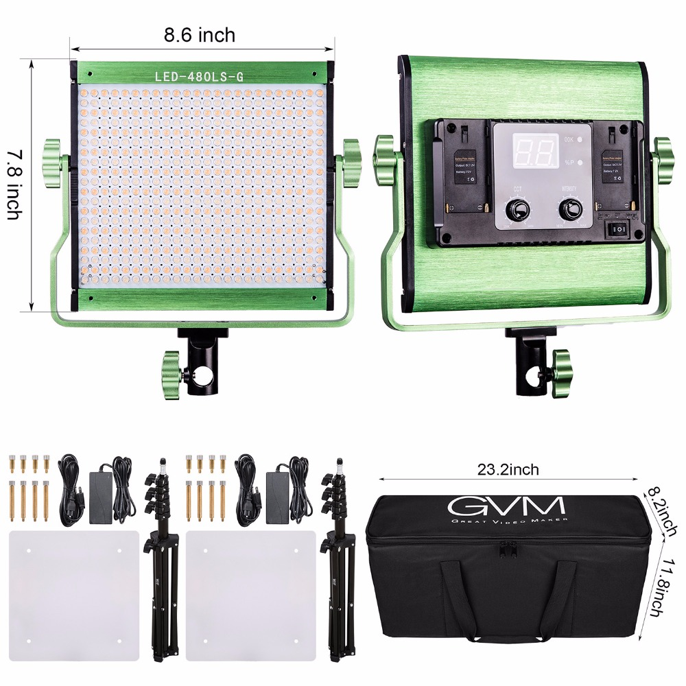 GVM 480 LED Photography Lighting Kit with Satnd Dimmable Video LED Panel CRI97 2300K-6800K Studio Lighting Set