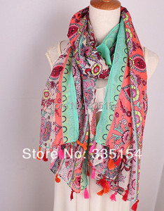 2015 Spring Fashion Vintage Floral Scarf Bohemian Style Tassel Scarf Shawls Wraps Hijabs 10pcs/lot Freeshipping
