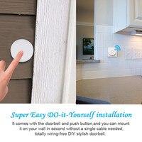 US EU Plug Wireless Doorbell Set IPX7 Waterproof Push Button 3 Levels Volume To Adjust No