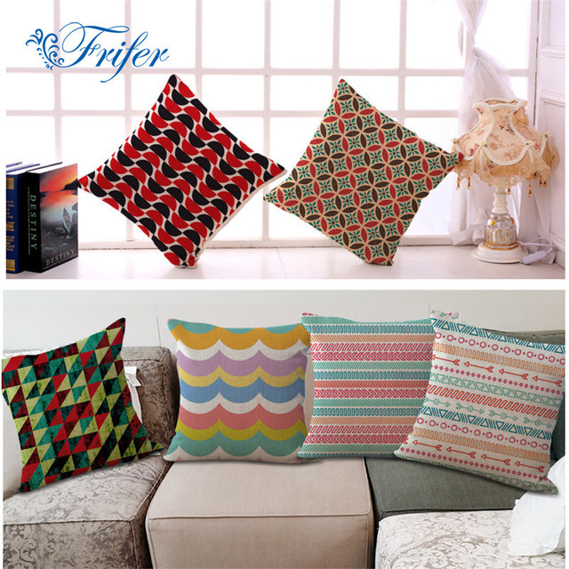 Symmetric Printing Cotton Linen Sofa Cushion Cover Colorful Strips Living Room Soft Pillow Case Bay Window