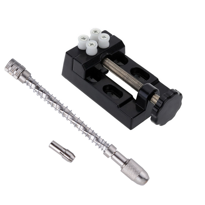 Carving Tools Set Mini Walnut Vise Clamp Table Bench Vice+Micro Pin Vice Manual Hand Drill Chuck Spiral Precision 0.5-3.2mm  цены
