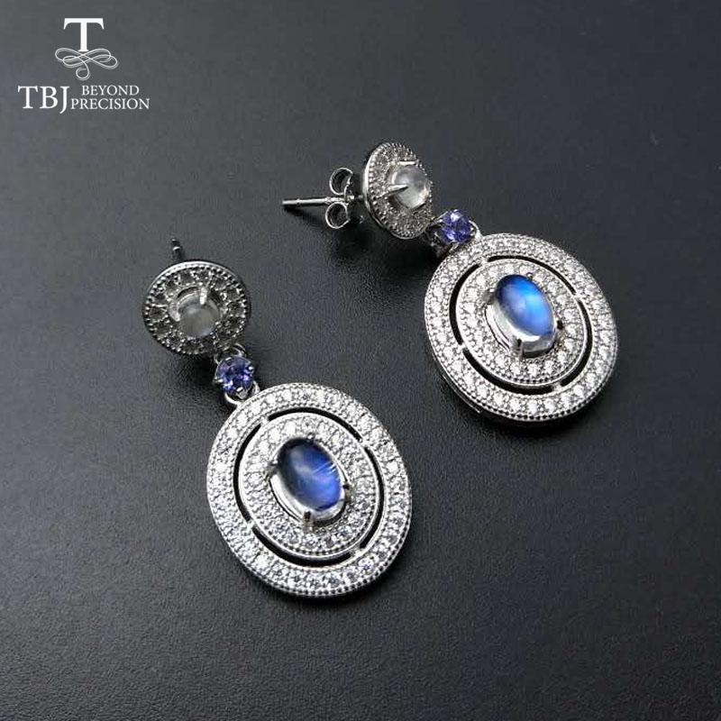 TBJ,925 Sterling silver gemstone earring with natural blue moonstone and tanzanite in Fine Jewelry for Lady with gift box tbj delicate small ring with natural good color blue tanzanite gemstone lady ring in 925 sterling silver fine jewelry for women