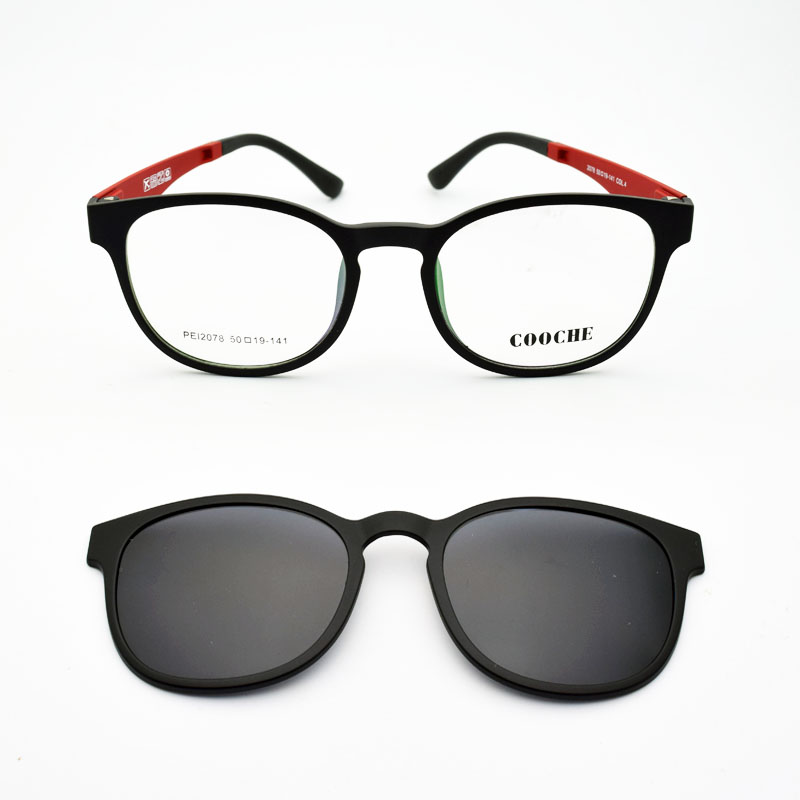 초경량 안경 모래 검은 자석 클립 선글라스 근시 안경 편광 라운드 프레임 여성 스타일 기능 PEL2078
