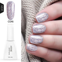 Azure Best Selling Professional UV Nail Gel Polish Pink Color Nail Gel Lacquer 3D Glitter Gel