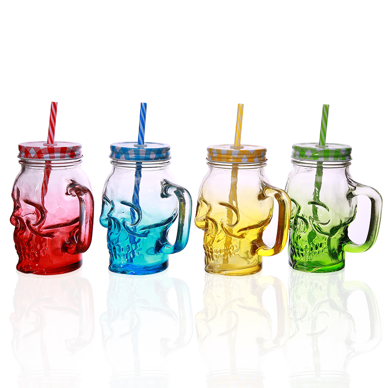 450ml Skull Mason Jar Glass Mug Cool Creative Mason Cup For Restaurant Drinking Beer Juice Milk As A Gift