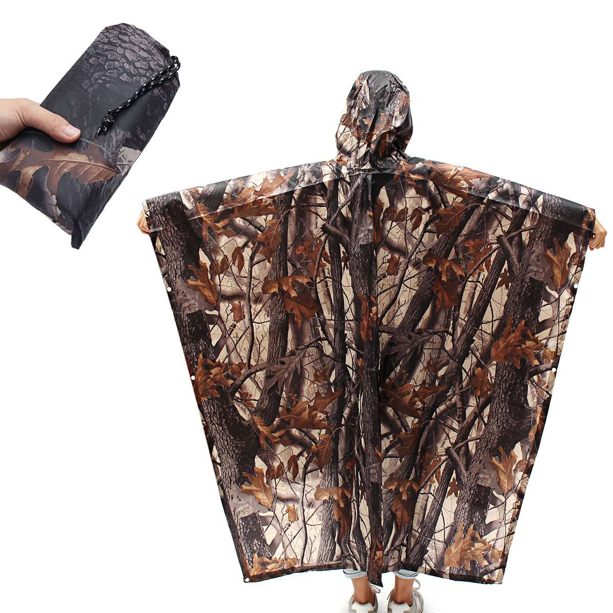 220x145cm 3 In 1 Outdoor Camping Survival Military Travel Camouflage Hiking Poncho Backpack Rain Cover Waterproof Tent Mat