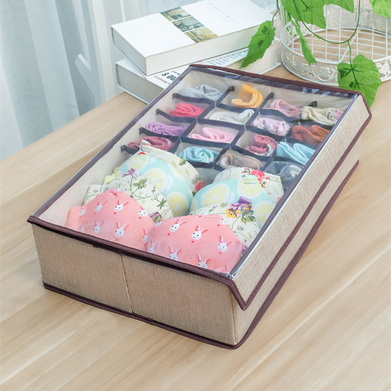 US $10.01 30% OFF|17 Grid Underwear Sock Storage Box with Transparent Lid  Home Bedroom Storage Boxes for Scarfs Socks Foldable Storage Box Closet-in  ...