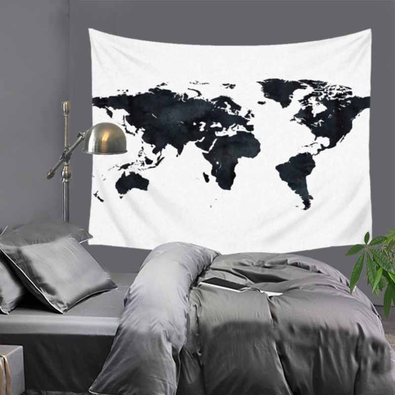Tapestry Blue Printed Wall Hanging Twin Size Carpet Home Decor Wall Tapestry World Map Polyester Sheet Hot 150cm LZE6 in Tapestry from Home Garden