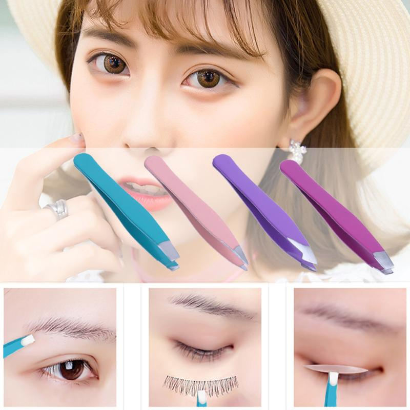 4Pcs/Set Mini Eyebrow Tweezers Anti-Static Eyelash Extention Eye Lashes Grafting Tweezer Pro Hair Removal Eyebrow Nipper