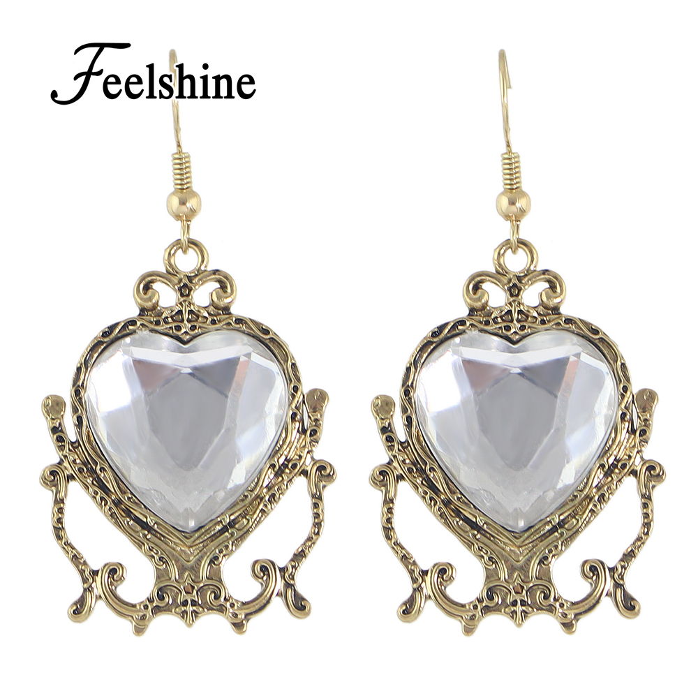2016 New Retro Style Gold Plated With Big Acrylic Heart Earrings Drop Party  Chandelier Earrings Costume