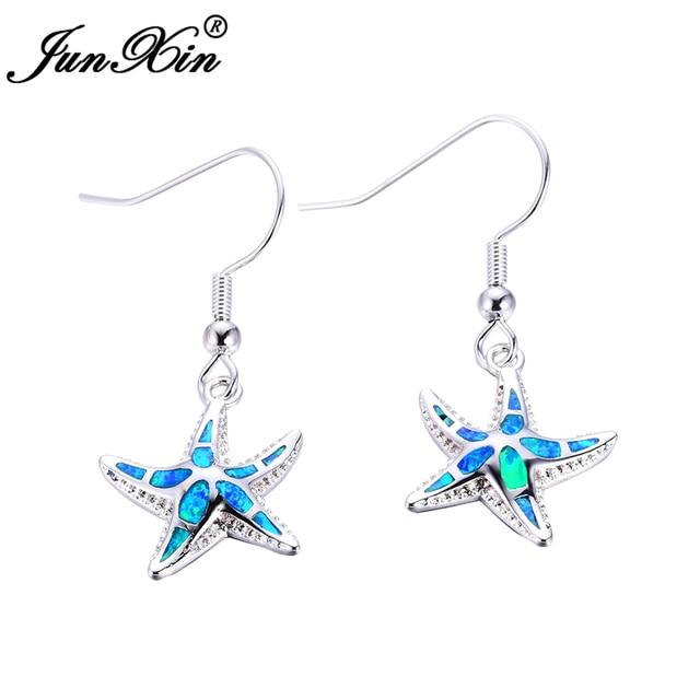 Junxin Women Starfish Earrings Blue Fire Opal 925 Sterling Silver Filled For Fashion