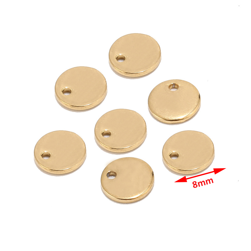 Image 3 - 50pcs Silver/Gold/Rose Gold Stainless Steel Blank Stamping Dog Tags Round Charm Pendants Custom with Any Words 6mm/8mm/10mm-in Charms from Jewelry & Accessories