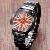 Kevin Men Women Ladies Rhinestone Quartz Wrist Watch Bling Round UK Flag Pattern Dial Casual Black