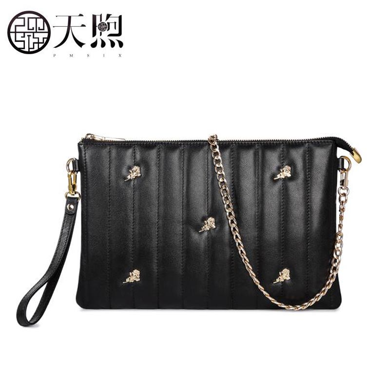 Pmsix2018 new high-quality fashion luxury brand tide joker hand slung shoulder bag header layer leather handbag pmsix 2018 new autumn