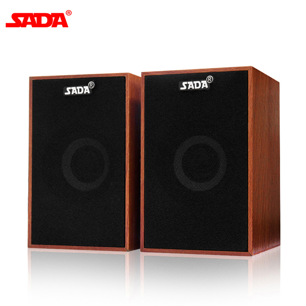 SADA PC Speaker Wired Soundbar Laptop Bass Wooden Smart-Phones Desktop Stereo Mini AUX