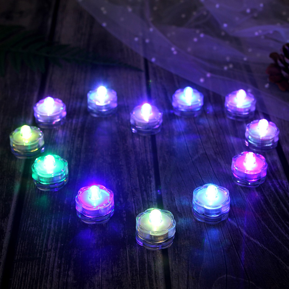 12pcs/lot Waterproof LED Tealight Simulation Candle Wedding Submersible Underwater Tea Light For Christmas Wedding Party Decor