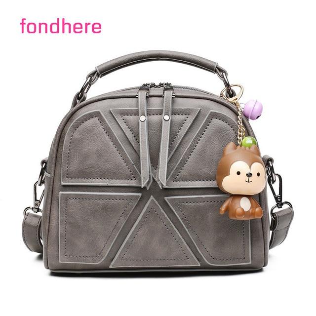 fondhere Women Suture Bag Shoulder Ladies PU Leather Women Bags Handbags  Famous Brands Crossbody Bag With Cute Monkey 2912eec64c