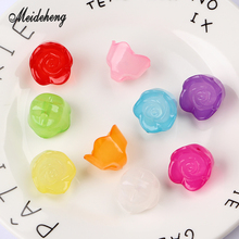 21*17mm Acrylic Jelly Rose Translucent Flower Bead Earring Pendant Necklace Bracelet Ornament Jewelry Accessories Handmade