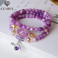 CC Rabbit Charms Bracelets For Women Purple Crystal Multilayer Multi Circle Elastic Force Hand String Bracelet Accessories B039a