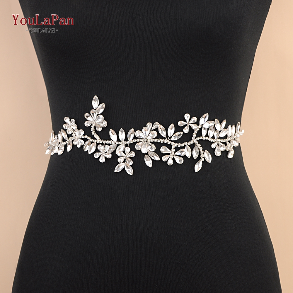 YouLaPan SH239 Wedding Belt Silver Rhinestone Belt Wedding Dress Belt For Girlfriend Gift Bridal Party Dress Belt