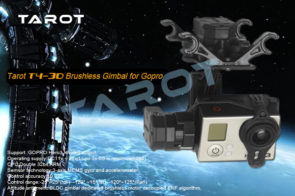 Tarot GOPRO T4-3D 3-axis brushless gimbal TL3D01 for GOPRO4/GOpro3+/Gopro3 support FPV mode